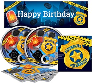 Birthday Direct Police Value Party Kit for Up to 16 Guests Includes Plates, Napkins, Banners, and Decorations - 37 Pieces - Policeman, Officer Party Supplies for Boys Birthday, Girls Birthday