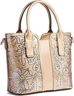 Leather Handbags for Women, Crossbody Shoulder Bag PU Top Handle Handbags, Fashion Vintage Embossed Tote Bags,Gold