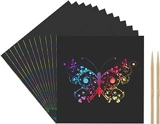 Kesote 100 Hojas Papel de Rascar + 2 Plumas de Bambú Tablero de Dibujo de Rascar de Arco Iris Papel de Scratch Hojas Desmontables para Notas, Dibujos, Juegos