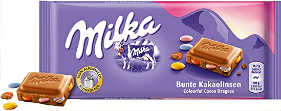 Milka Colorful Cocoa Lenses Chocolate Bar Candy Original German Chocolate 100g/3.52oz