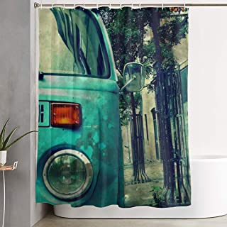 Vintage VW Camper Van Vintage VW Camper Van Shower Curtain Polyester Fabric Waterproof Machine Washable With 12 Hooks 60x71 Inches