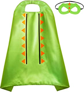 Dinosaur Cape and Mask Costume for Kids - Perfect Dress up for Halloween and Birthday Party - Trex, Dragon, Superhero, Gecko, Alligator Cloak Green