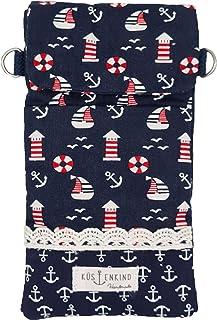 Goldline Smartphone- und Handy Tasche, Umhängetasche, Crossbag, Patchwork blau Leuchtturm