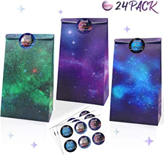Galaxy Themed Party Supplies- Outer Space Theme Party Goodie Bags & Thank You Stickers- Solar System Party Favors Bags for Kids, Teachers Day Rewards- Kraft Paper Treat Bags Set of 24