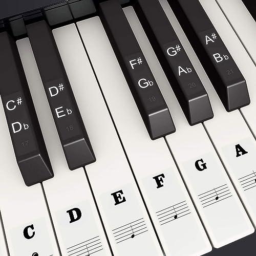 Autocollants de Piano de Couleur pour 37, 49, 54, 61, 88 Touches, Fansjoy Autocollants Piano de Remplacement Piano St...
