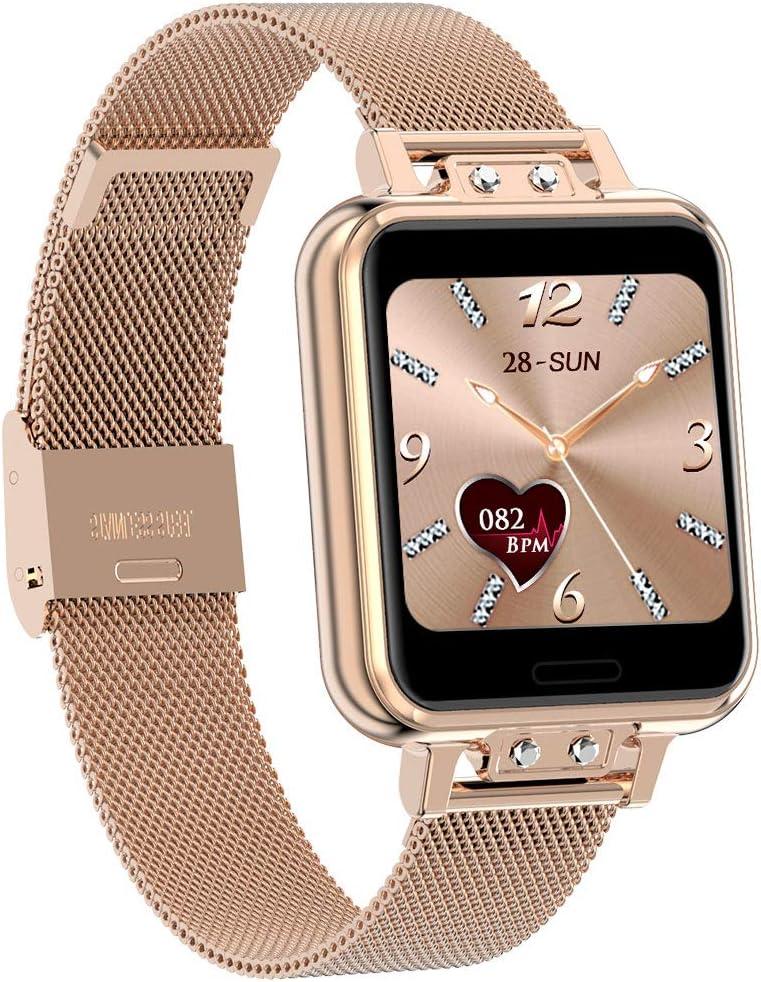 Smartwatch Geeky Fitness Tracker IP67 Smart Watch para mujer de 1,22 pulgadas para pulsómetro, monitor de sueño, presión arterial, pulsera de actividad inteligente compatible con iOS y Android. (Gold)