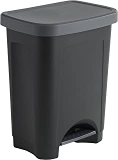 Sundis 450402 Poubelle de Cuisine StepBin à pédale avec design élégant, Plastique, Noir/Argent, 25L