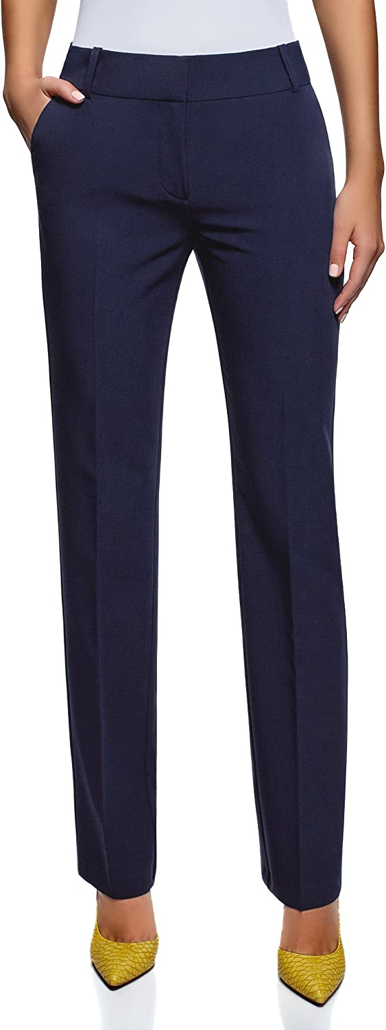 oodji Collection Women's Classic Straight Leg Trousers