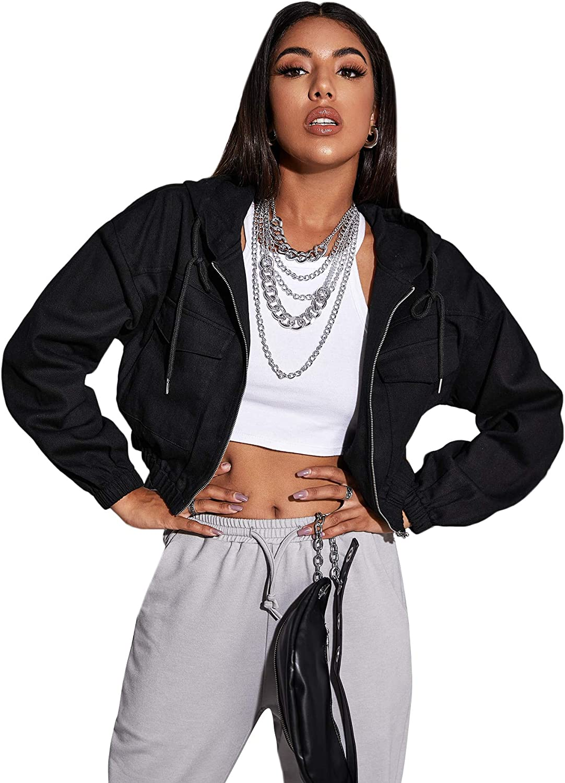 SheIn Women's Long Sleeve Zipper Drawstring Hoodie Short Outerwear Crop Jacket
