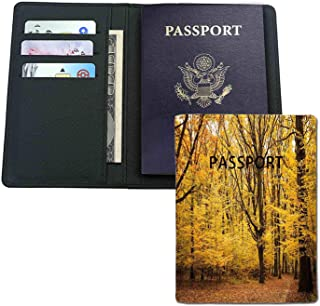 Leather passport holder - Epic View Deep Down in Forest with Shady Leaves Rural Habitat - Credit card,passport,ID card protection.Travel essentials.
