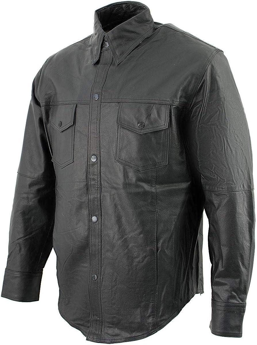 Leather King SH908 Men's Black Button-Down Lambskin Leather Shirt