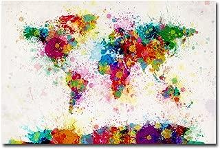 Paint Splashes World Map by Michael Tompsett, 22x32-Inch Canvas Wall Art