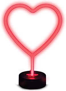 Sharper Image Red LED Heart Neon Sign, Decorative Emoji Lamp