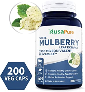 White Mulberry Leaf Extract 2500mg 200 Veggie Caps (100% Vegetarian, Non-GMO & Gluten Free) Natural High & Low Blood Sugar Control, Weight Loss Support - 100% Money Back Guarantee!