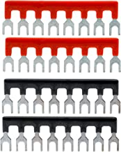 YXQ 400V 25A 8 Postions Barrier Strip Fork Type Terminal Stripe Strips TB2508 Block with Pre Insulated (2+2) Red/Black 4 Pcs