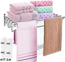 Folding Towel Rack Install NO Need Drilling Towel Holder Wall-Mounted Towel Rack Rustproof Brushed Finish Variable Length ...