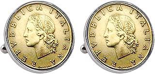 Italian Republic Coin Silvertone Bezel Cuff Links   Lira Coins   Men's Cufflinks   Miss Italy Lire Coins