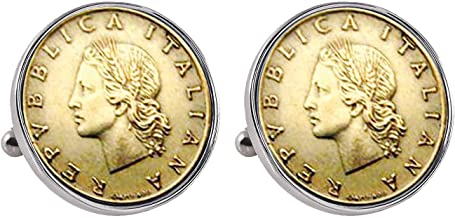 Italian Republic Coin Silvertone Bezel Cuff Links | Lira Coins | Men's Cufflinks | Miss Italy Lire Coins