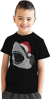 Youth Santa Jaws Funny Holiday Shark Christmas T Shirt for Kids