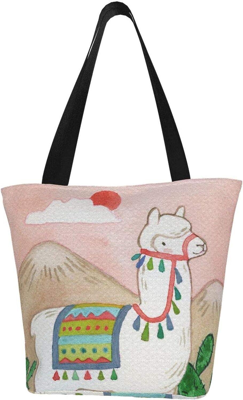 Cactus Llama Sun Pink Themed Printed Women Canvas Handbag Zipper Shoulder Bag Work Booksbag Tote Purse Leisure Hobo Bag For Shopping