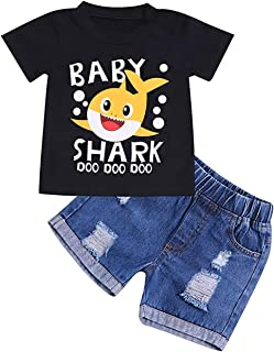Toddler Clothes Baby Boys Girls Shark Doo Doo Doo Outfits Kid Newborn Black Top+Shark Pant Clothes Set