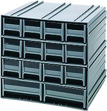 خزانة تخزين كوانتم QIC-12123BL رمادية متشابكة مع 14 درج أزرق، 29 سم في 28 سم في 28 سم