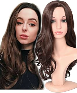 Fani Wig Long Curly Wavy Dark Brown Wigs Middle Part 22 Inch Glamorous Women Wigs Synthetic Full Wig with Free Wig Cap(Dark Brown)
