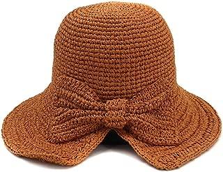 Spring Summer New Women's Folding Outdoor Sunscreen Beach Sun Hat Visor Handmade Crochet Straw Hat Bow` TuanTuan (Color : Orange, Size : 56-58CM)