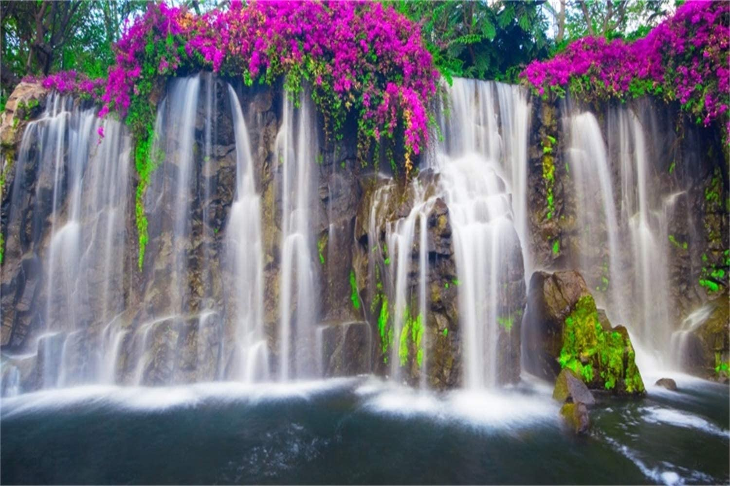 Leowefowa Spring Violet Flowers Waterfall Backdrop 15x10ft Picturesque Nature Landscape Vinyl Photography Background Child Adult Photo Wedding Shoot Wallpaper Studio Photo Booth Props