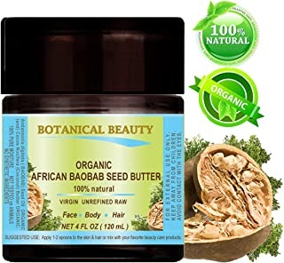 ORGANIC AFRICAN BAOBAB SEED BUTTER. 100 % Natural / 100% PURE BOTANICALS. VIRGIN/ UNREFINED BLEND. 4 fl oz- 120ml. for Skin, Hair, Lip and Nail Care. One of the richest natural sources of vitamins A, D, F & E and a remarkable and stable source of omega 3, 6 & 9 and minerals. Nature's Perfect moisturizer by Botanical Beauty.