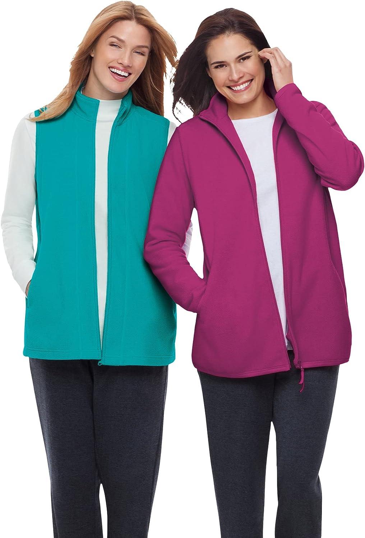 Woman Within Women's Plus Size Zip-Front Microfleece Vest