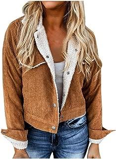 AOJIAN Women Coat Long Sleeve Outerwear Lapel Faux Top Suede Lamb Wool Jacket