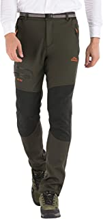 DFENGEA Men's Hiking Pants Outdoor Softshell Fleece Warm Waterproof Windproof Mountain Snow Ski Pants