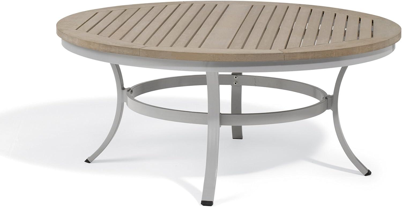 Amazon Com Oxford Garden Travira 48 Round Chat Table Powder Coated Aluminum Frame Natural Tekwood Top Garden Outdoor