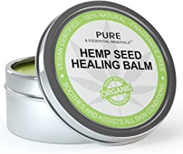 Organic Hemp Seed Oil Cold Pressed Healing Cream, New Improved Formula for Eczema, Psoriasis, Pain, Rash, Jock Itch, Organic Aloe Vera, Coconut, Tamanu, Lavender, Tea Tree Oils 4 ounces