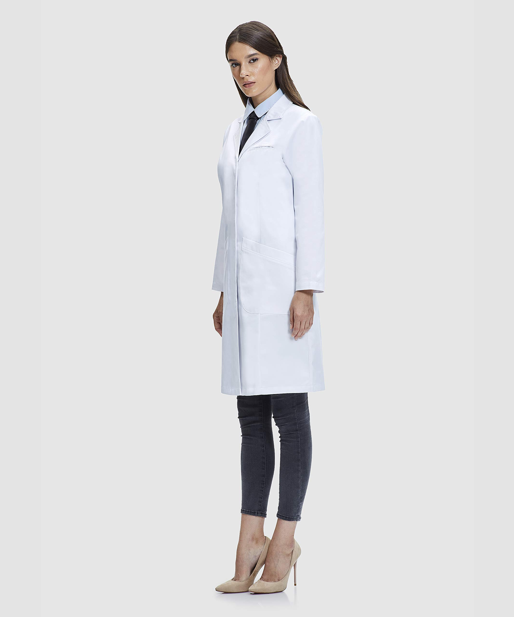 Dr. James Student Lab Coat for Women, 100% Cotton, Classic Fit, Multiple Pockets, White, 37 Inch Length