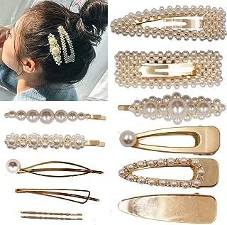 12PCS Pearls Hair Clips Elegant Hair Accessories for Girls Women Lady Bridal Weeding White Pearl Hairpins Clips Rhinestones Hair Barrettes (Gold Hair Clips)