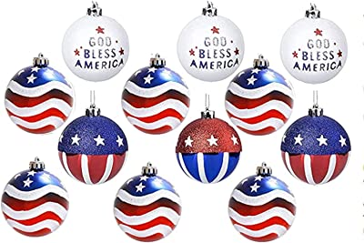 Glass Ornament Set of 8 Christmas Ornaments Red Blue Gold Glitter Silver Vintage Distressed Multi Size Curated Gift Set Antique Striped Mica