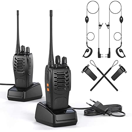OWSOO Walkie Talkie Profesional Recargable Walkis 1500mah CTCSS DCS 6KM Radiocomunicación con Linterna LED y Auriculares (2 PCS) para Construccion/Aventuras