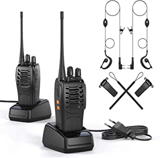 OWSOO Walkie Talkie Profesional Recargable PMR446 Walkis 1500mah CTCSS DCS 6KM Radiocomunicación con Linterna LED y Auricu...