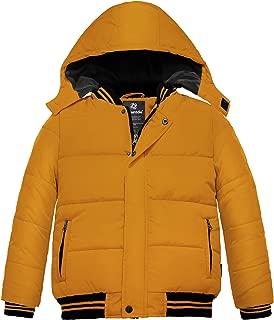 Wantdo 男孩填充冬季外套,可拆卸连帽防风棉夹克