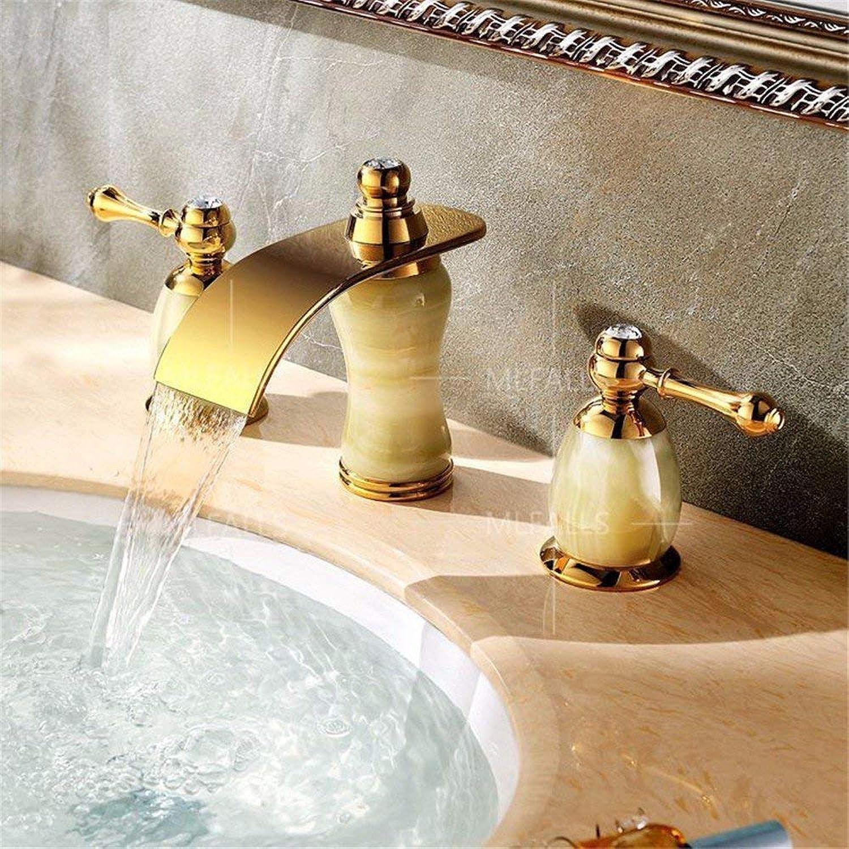 Antike Messing Gold Jade Doppelgriff DREI Loch Wasserfall Steckdose Waschbecken Mischbatterie Waschbecken Wasserhhne Waschbecken Mischbatterie Waschbecken Mischbatterie Waschbecken