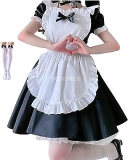 PITHECUS メイド服 コスプレ メイド ハートのエプロン かわいい ロリータ ハロウィン バレンタイン ソックス付き (M, 黒)