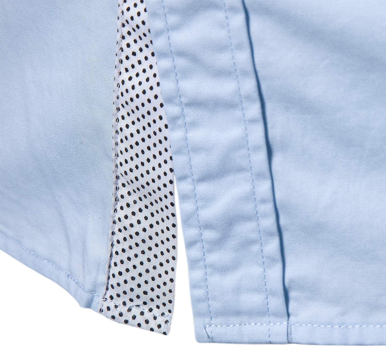 Manwan walk Mens Casual Button Down Shirts Short Sleeve Regular Fit Inner Contrast Dress Shirt