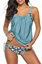 Century Star Women's Two Piece Tankini Swimsuit Floral Tank Top Bikinis Padded Swimwear with Boyshorts