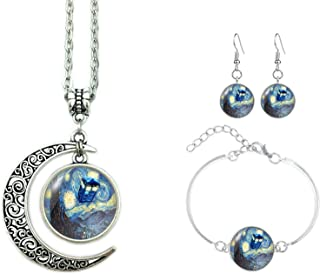 ALNDA Moon Necklace Doctor Who The Tardis Crescent Pendant Vincent Van Gogh Starry Night Charms Gift for Women