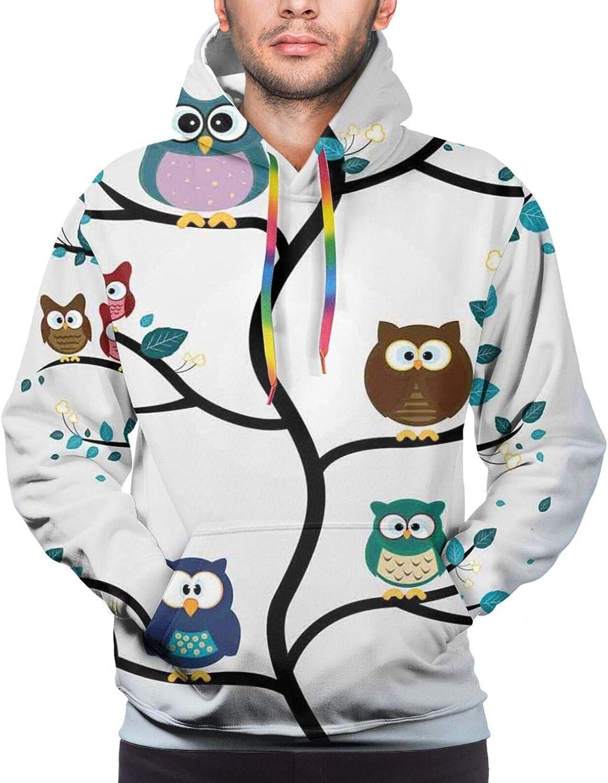 Men's Hoodies Sweatshirts,Owl Family On Tree Branch Celebration Holly Jolly Season New Year Winter Night