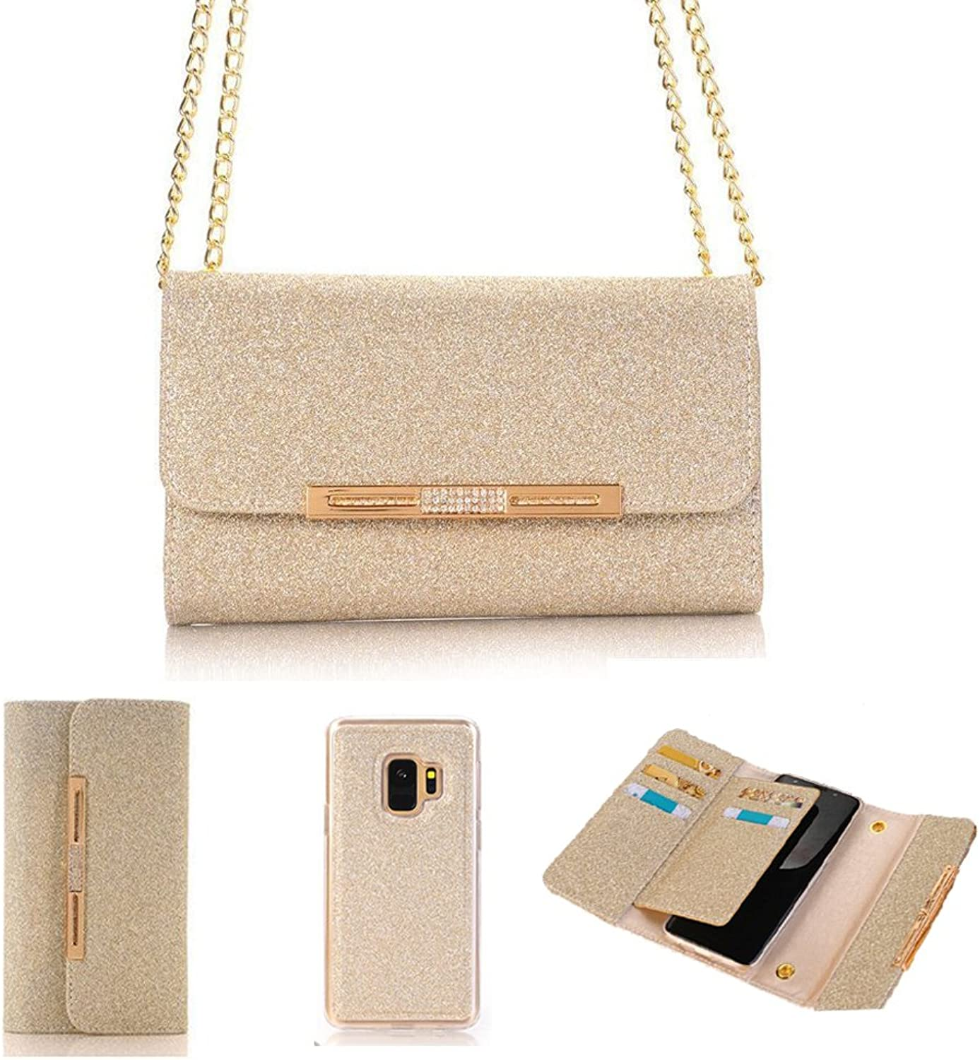 Wallet Phone Case with Detachable Magnetic Back Case Leather Women Stylish Bling Shiny Multi Envelope Wristlet Handbag Clutch Wallet Cover& Metal Chain for Samsung Galaxy S9 Plus -gold