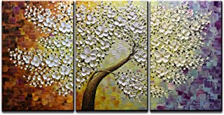 Amei Art Paintings, 24x36 Inchx3 Paintings 3D Hand-Painted On Canvas Tree of Life Painting Abstract Flower Artwork Art Wood Inside Framed Ready to Hang Wall Decoration for Living Room Bed Room