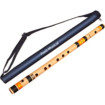 Foxit Professional Flutes C Sharp Medium Right Hand Bansuri Size 18.5 inches With Free Carry Cover